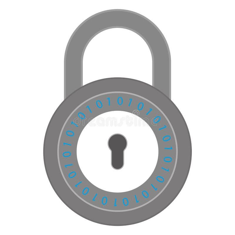 Grå färgsäkerhetslås med crypto nummer låssymbolsvektor eps10 stock illustrationer