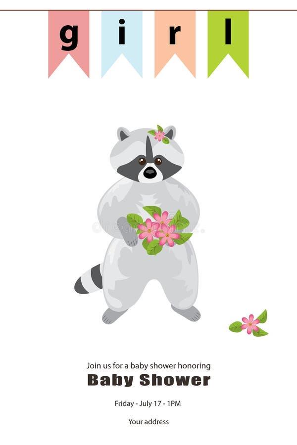 Grå färgtvättbjörnen står med en bukett av rosa blommor i dess tafsar royaltyfri illustrationer
