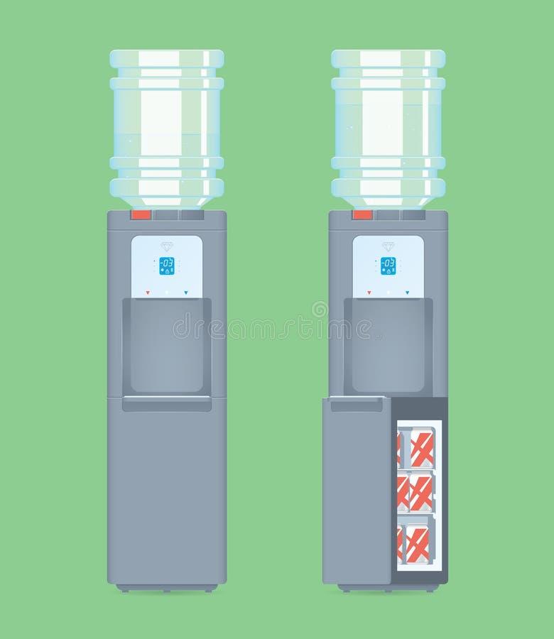Grå färgvattenkylare med den blåa genomskinliga flaskan med vatten Öppna och stäng kylskåpet med cans royaltyfri illustrationer