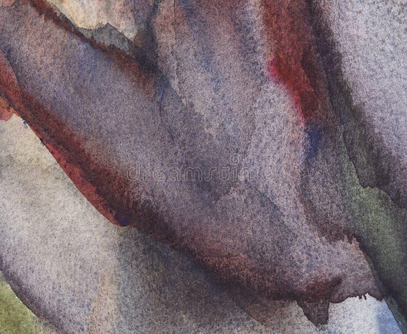 Grå för abstrakt vattenfärg våt, blå och svart bakgrund med fläckar Vattenf?rgWash stock illustrationer