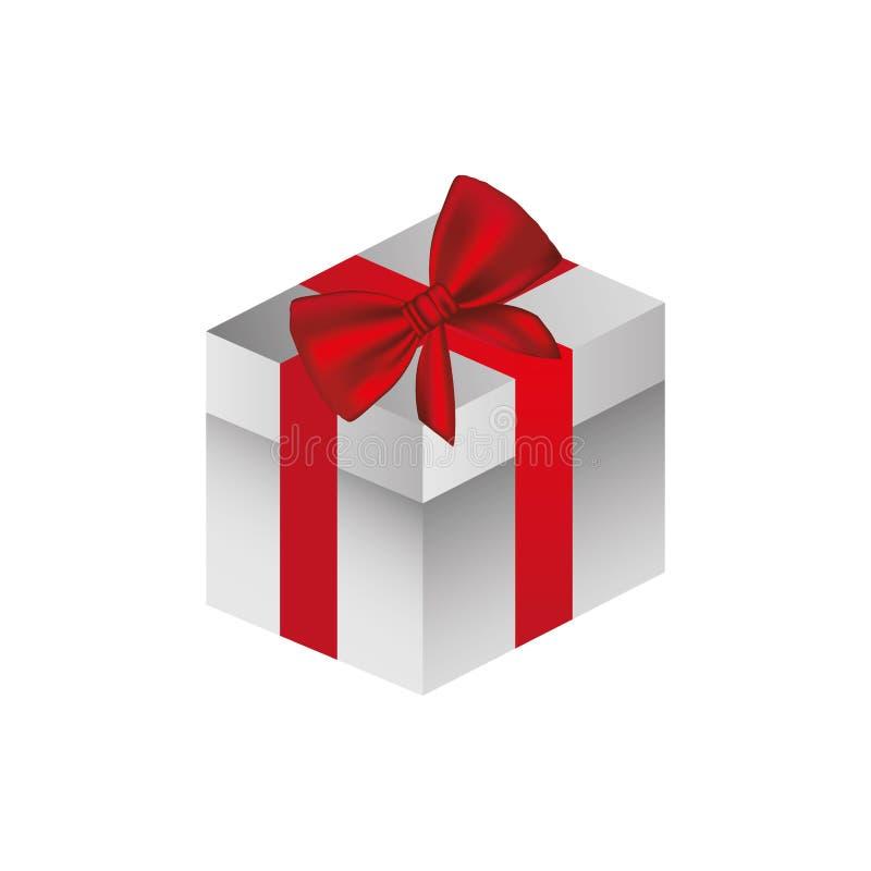 grå fyrkantig gåvaask med det röda bandet vektor illustrationer