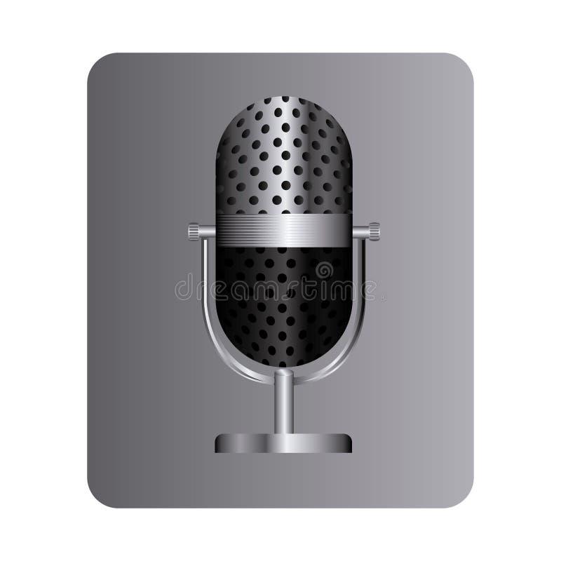 grå fyrkantig knapp med studiomikrofonen royaltyfri illustrationer