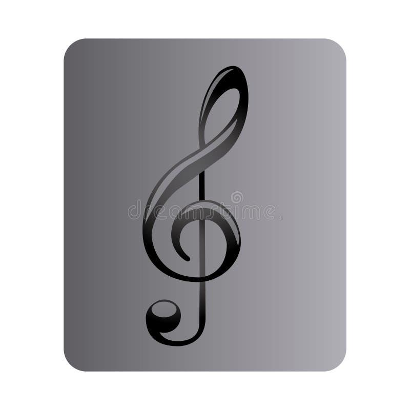 grå fyrkantig knapp med teckenmusikG-klav vektor illustrationer