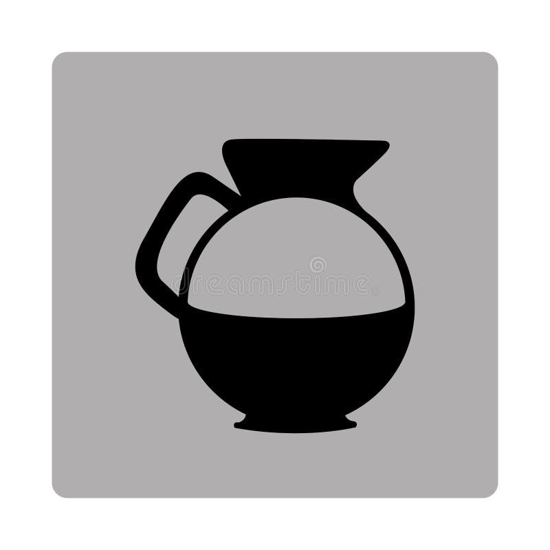 grå fyrkantig ram med den glass kruset för kontur av kaffe med handtaget royaltyfri illustrationer
