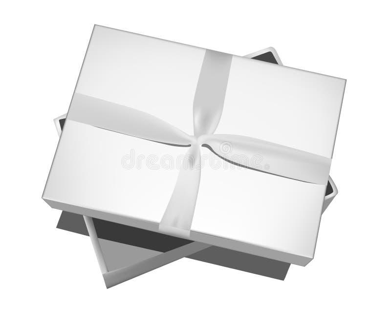 Grå gåvaask med pilbågen som isoleras på vit vektor illustrationer