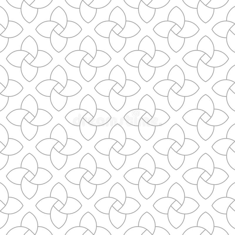 Grå geometrisk prydnad på vit bakgrund seamless modell vektor illustrationer