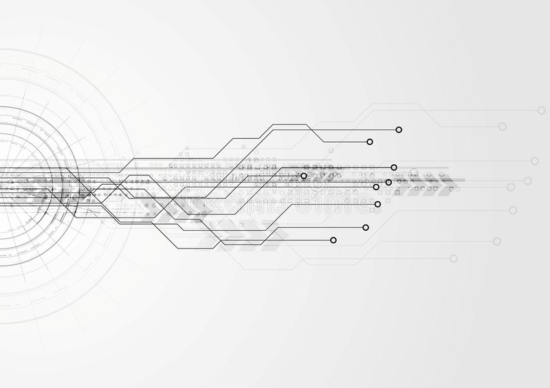 Grå högteknologisk bakgrund för strömkretsbräde vektor illustrationer