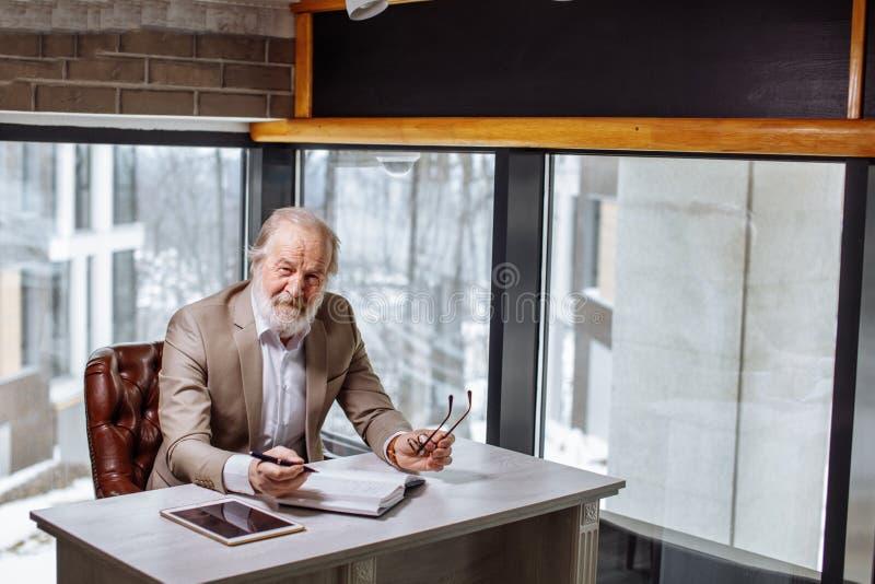 Grå hövdad affärsman som sitter och poserar till kameran royaltyfria foton