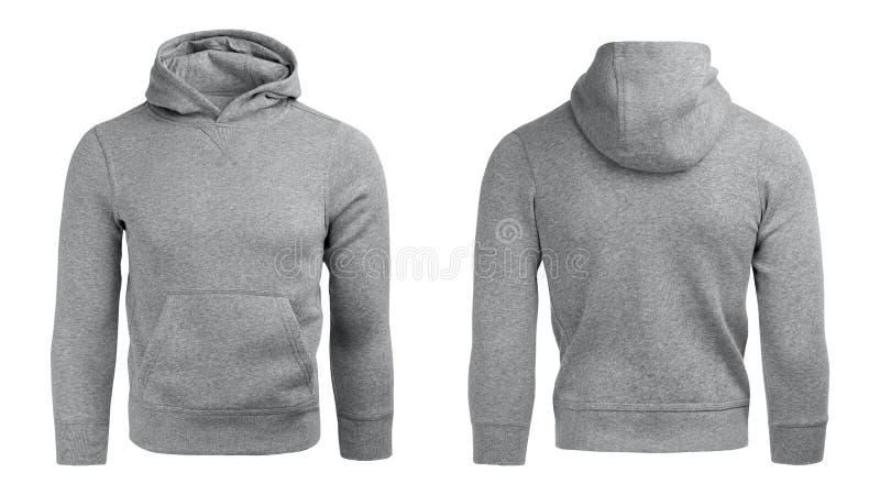 Grå hoodie, tröjamodell som isoleras på vit bakgrund arkivbild