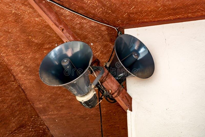 Grå horn- högtalare royaltyfria foton