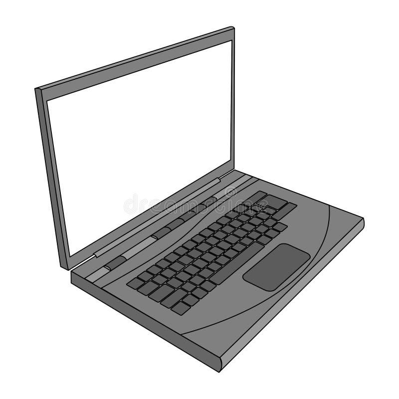 grå illustrationbärbar dator Illustration för bärbar dator-/datorsidosikt stock illustrationer