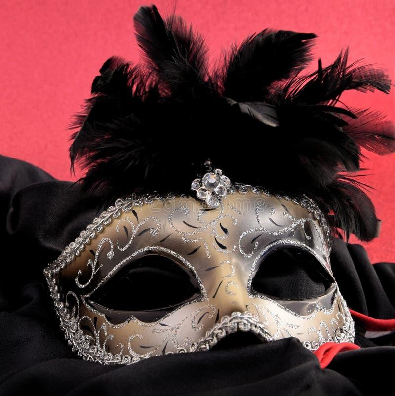 grå isolerad maskering för karneval arkivbild