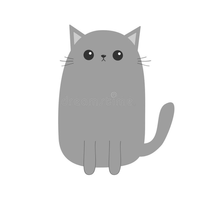 Grå kattkattunge Gulligt tecknad filmpotttecken Kawaii djur Den roliga framsidan med ögon, mustascher, näsa, gå i ax Älska hälsni stock illustrationer