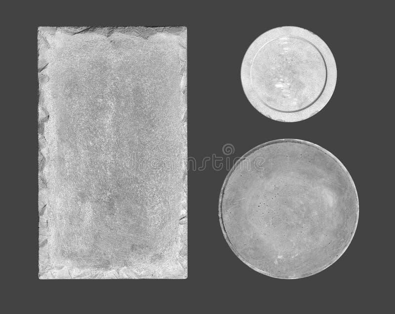 Grå konkret platta, skylt på grå bakgrund royaltyfria foton