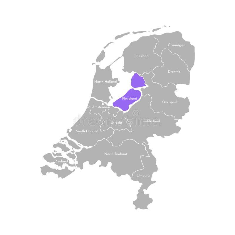 Grå kontur av Nederländerna Holland landskap Utvald administrativ uppdelning - Flevoland royaltyfri illustrationer