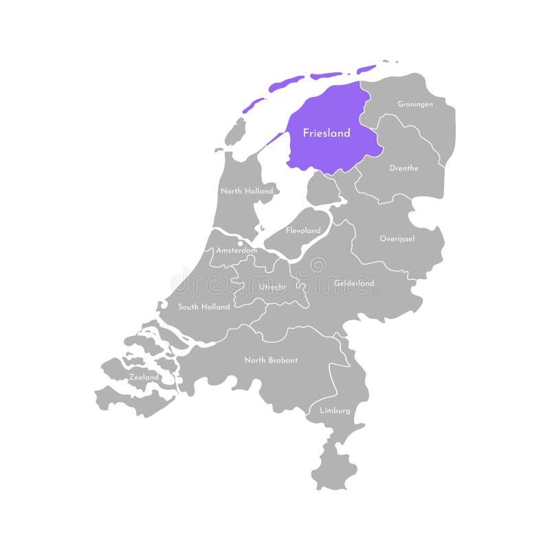Grå kontur av Nederländerna Holland landskap Utvald administrativ uppdelning - Friesland stock illustrationer
