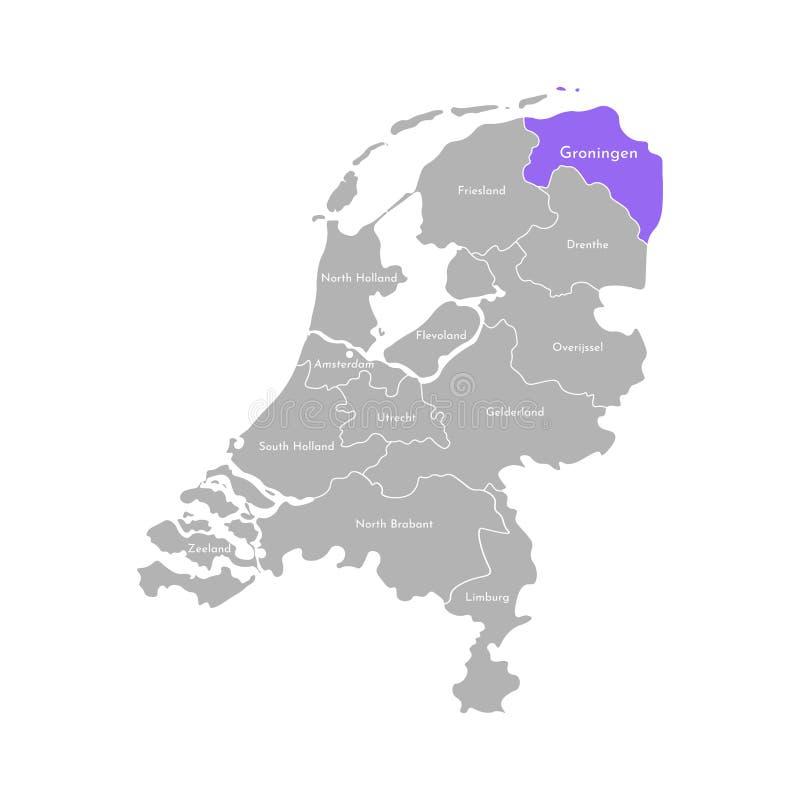 Grå kontur av Nederländerna Holland landskap Utvald administrativ uppdelning - Groningen stock illustrationer