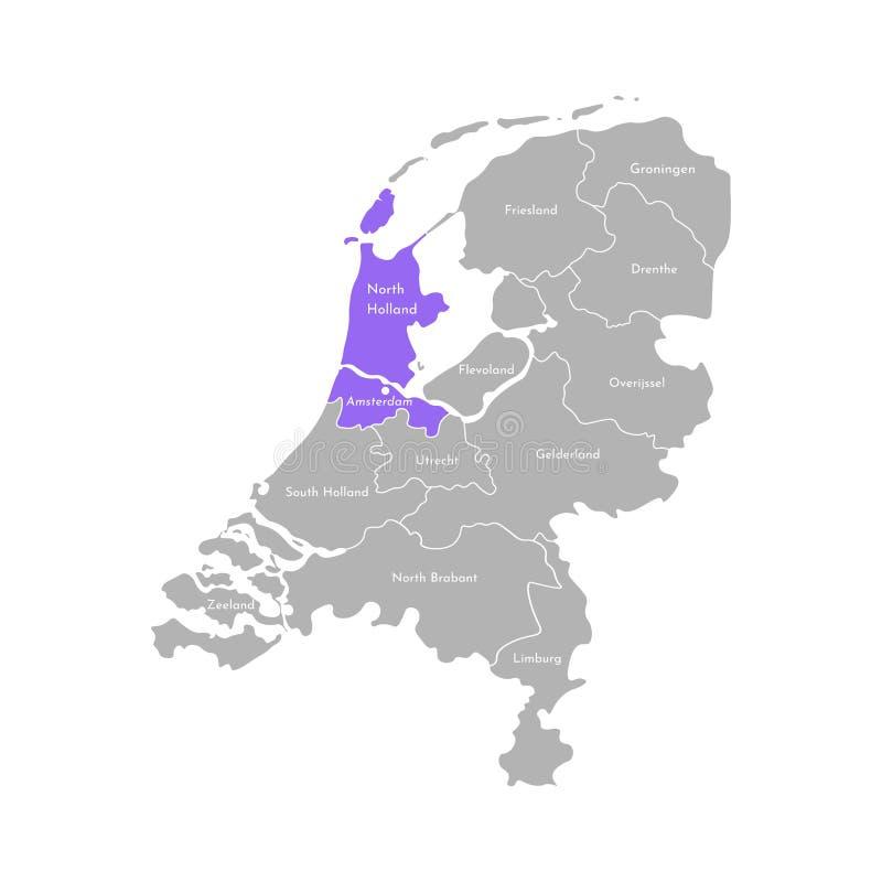 Grå kontur av Nederländerna Holland landskap Utvald administrativ uppdelning - norr Holland vektor illustrationer