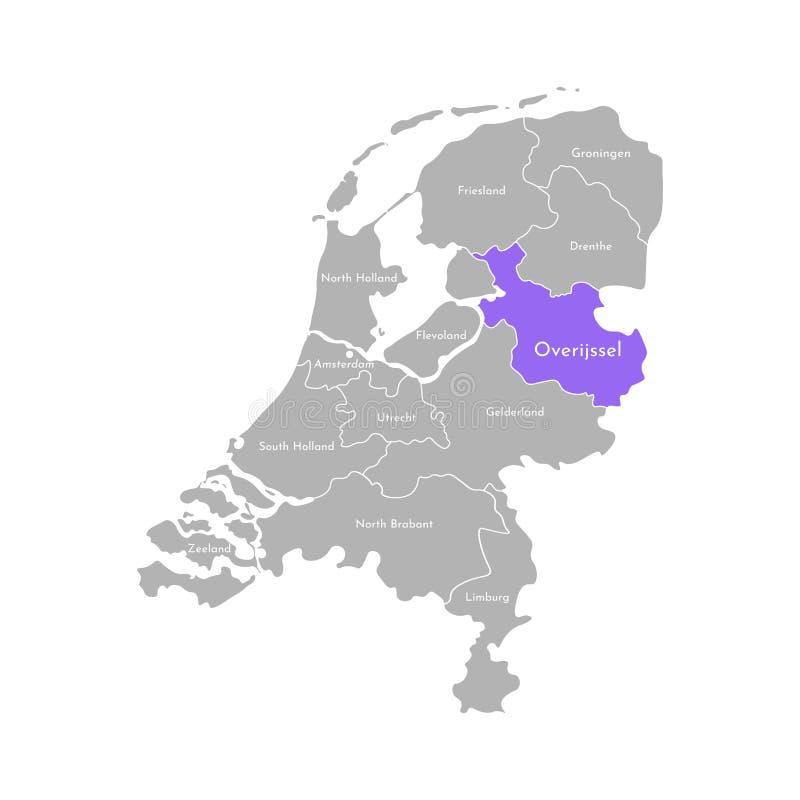 Grå kontur av Nederländerna Holland landskap Utvald administrativ uppdelning - Overijssel stock illustrationer