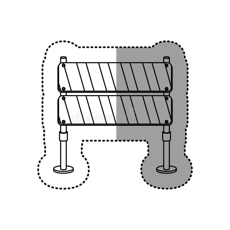 Grå kontur prucken barriär för klistermärkegatatrafik stock illustrationer