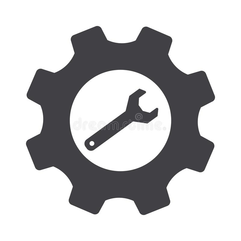 Grå kugghjulinställning och skiftnyckelvektor Inställningssymbol stock illustrationer