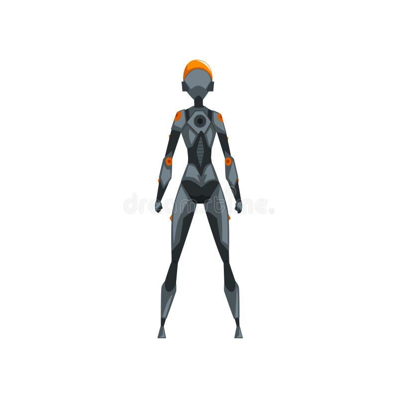 Grå kvinnlig robotutrymmedräkt, superhero, cyborgdräkt, illustration för baksidasiktsvektor på en vit bakgrund royaltyfri illustrationer