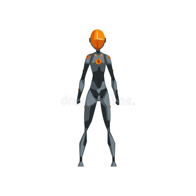 Grå kvinnlig robotutrymmedräkt, superhero, cyborgdräkt, vektorillustration för främre sikt på en vit bakgrund stock illustrationer