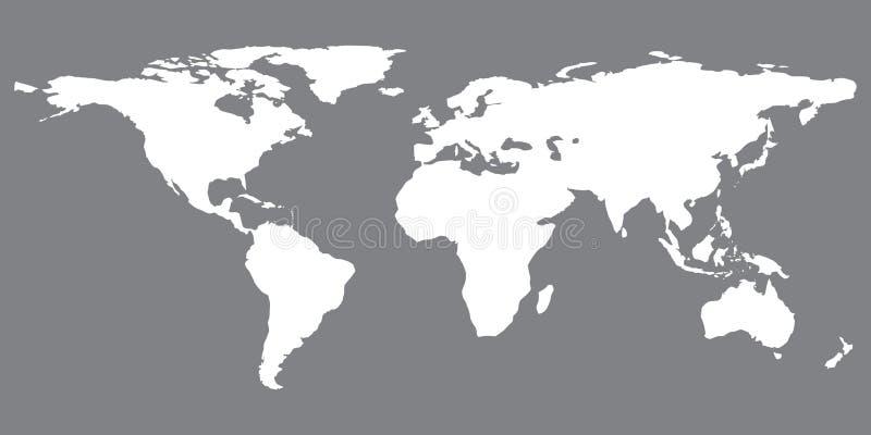 Grå liknande världskarta Världskartamellanrum gammal värld för illustrationöversikt Världskartalägenhet vektor illustrationer