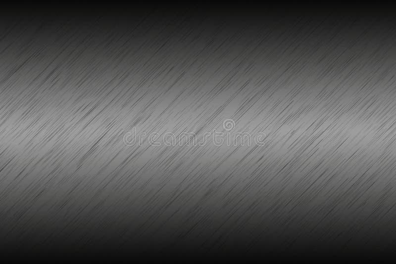 Grå metallisk abstrakt bakgrund, borstad metall, rostfritt stål vektor illustrationer