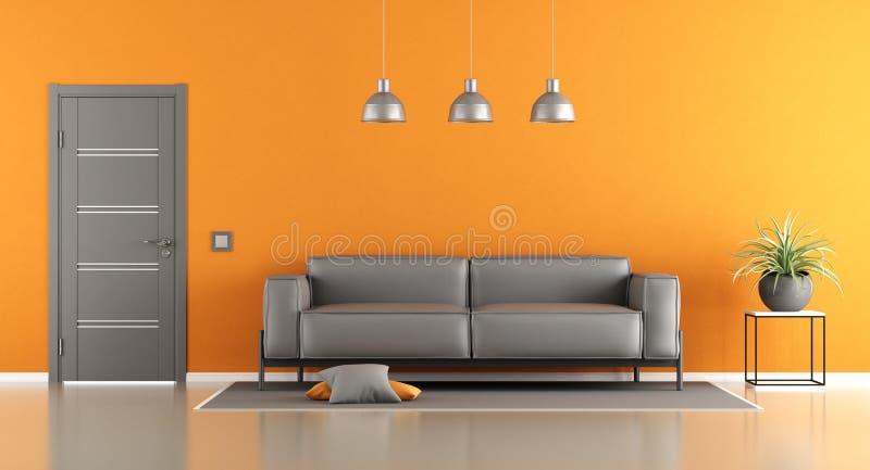 Grå och orange vardagsrum vektor illustrationer