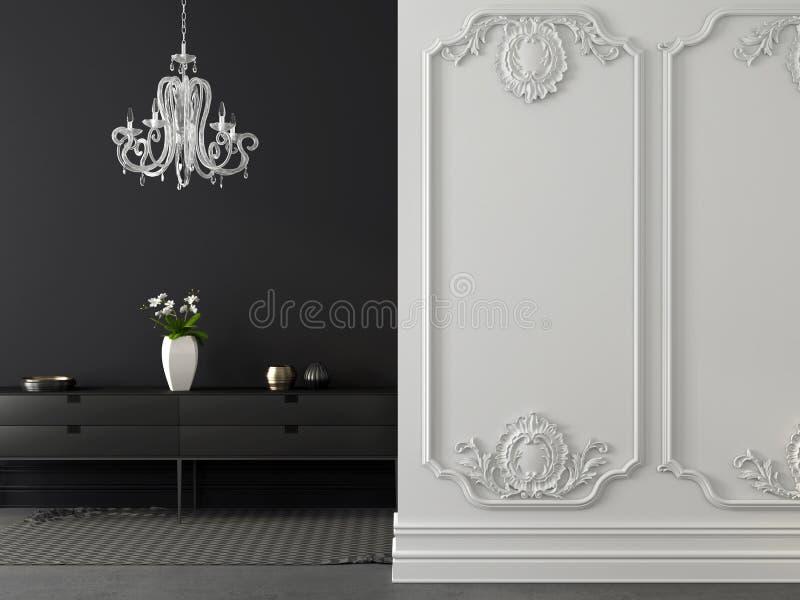 Grå och vit inre för klassiker med en ljuskrona royaltyfri illustrationer
