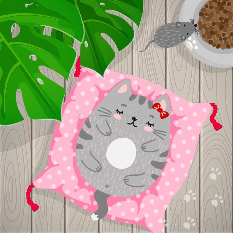 Grå pott som sover på kudden stock illustrationer