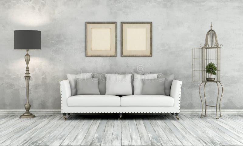 Grå retro vardagsrum vektor illustrationer