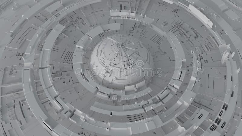 Grå roterande illustration för tolkning för cirkelbeståndsdelar 3D vektor illustrationer