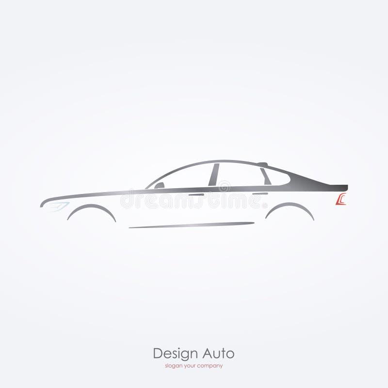 Grå sikt för bilkontursida av den lyxiga sedan vektor illustrationer