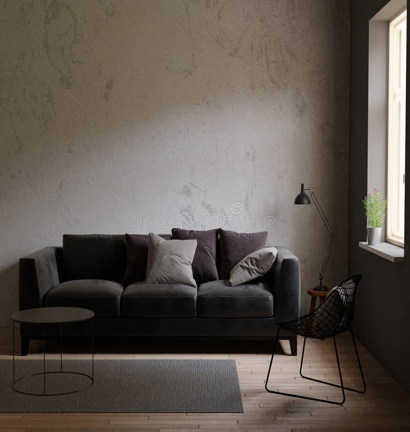 Grå soffa i ett mörkt rum det ljusa ljuset från evigt ljus, inre vind med betongväggar stock illustrationer