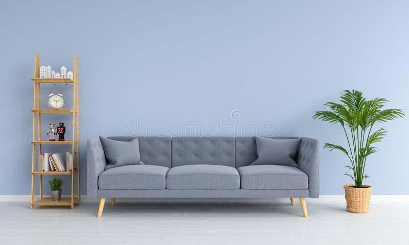 Grå soffa i vardagsrum, tolkning 3D royaltyfri illustrationer