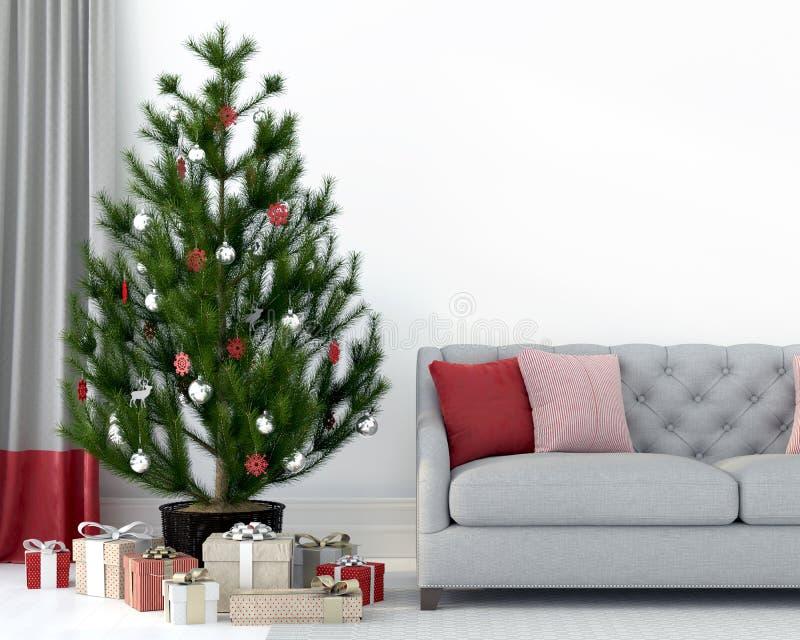 Grå soffa nära julgranen royaltyfri illustrationer