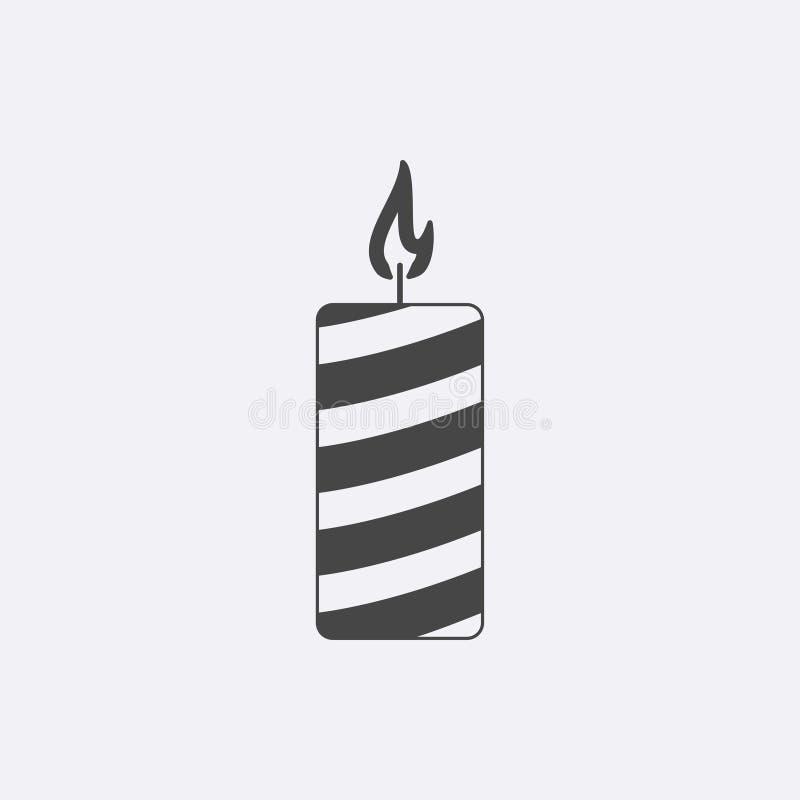 Grå stearinljussymbol som isoleras på bakgrund Modern pictogram för lägenhetkyrkastearinljus Moderiktig enkel christi vektor illustrationer
