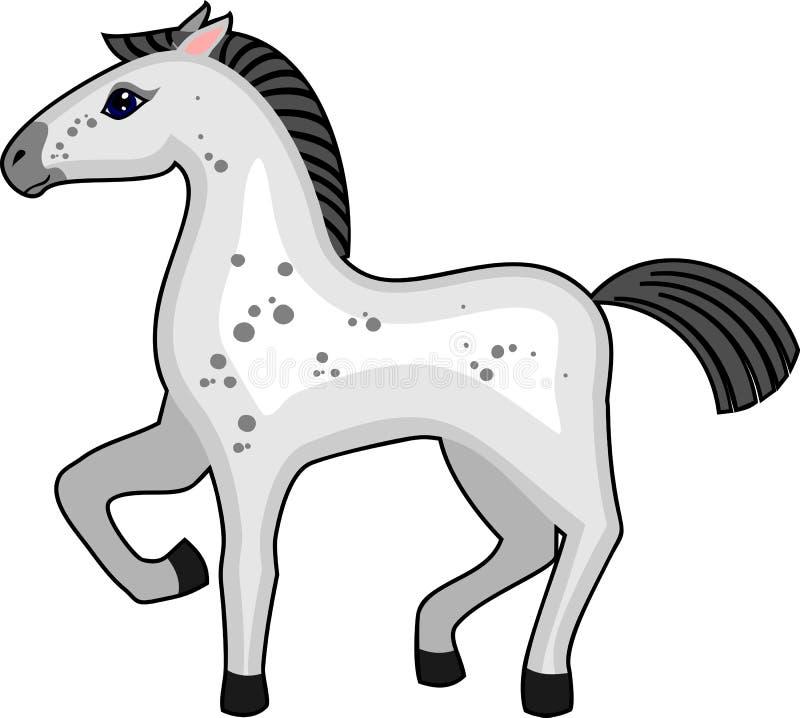 Grå tecknad filmhäst med det lyftta främre benet på vit bakgrund royaltyfri illustrationer