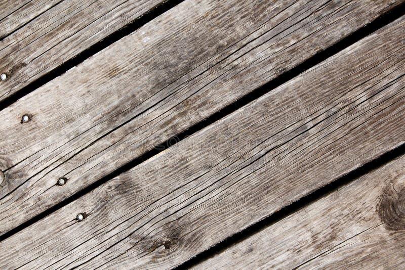 Grå träbakgrund med fyra spikar och stället för text arkivbilder