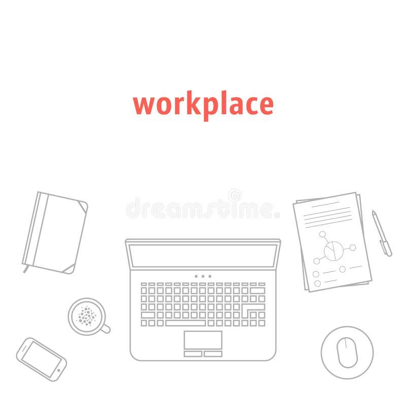 Grå tunn linje arbetsplats stock illustrationer