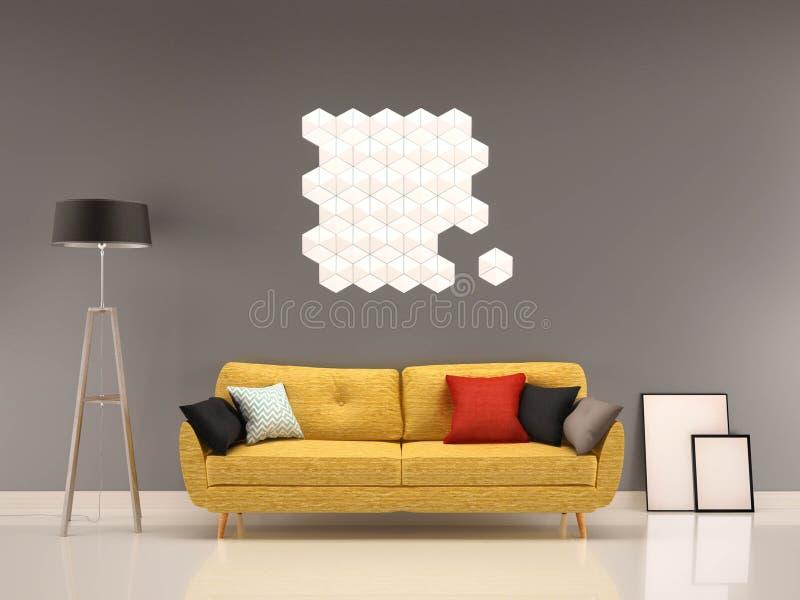 Grå vägg för vardagsrum med den gula soffa-inre stock illustrationer