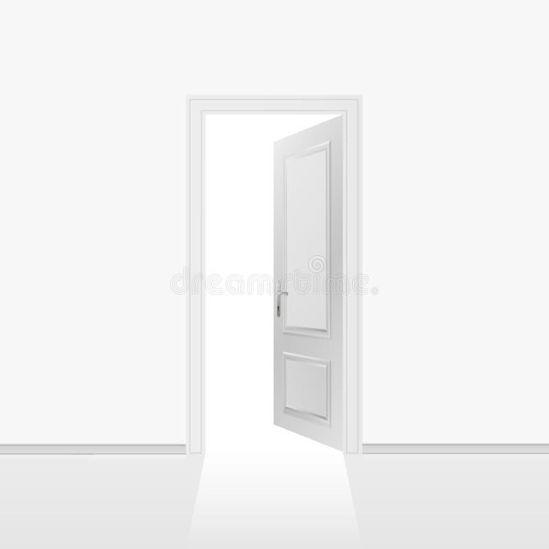 Grå vägg med den öppnade dörren vektor illustrationer
