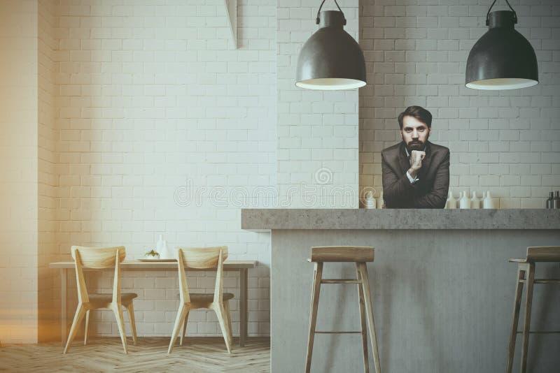 Grå väggstång och kaféinre, en bartender stock illustrationer