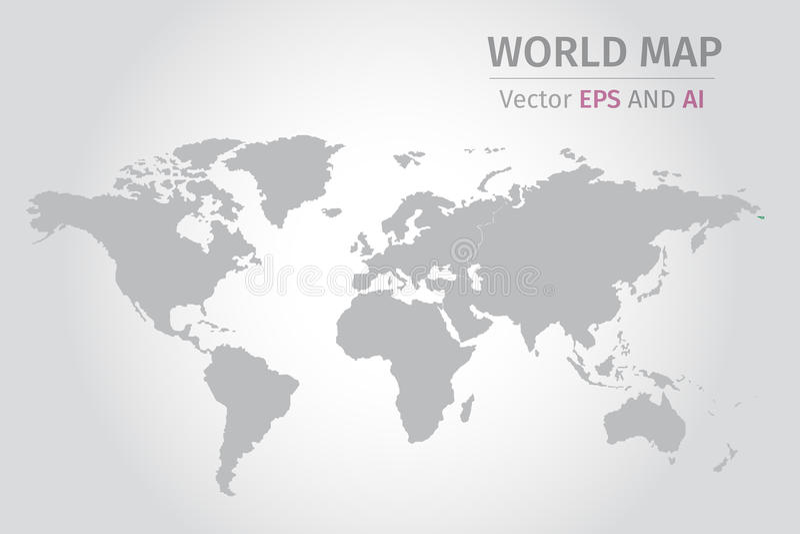 Grå världskarta för vektor på grå bakgrund vektor illustrationer