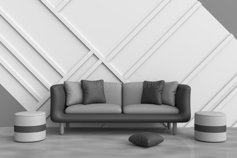 Grå vardagsrum dekoreras med svarta soffa-, svart- och grå färgkuddar, grå färgstol, den vita wood väggen stock illustrationer