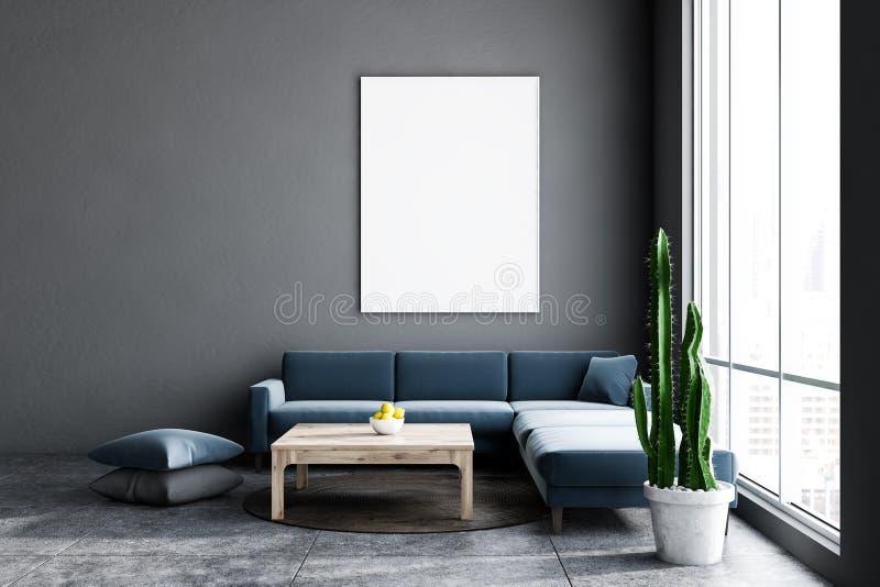 Grå vardagsrum som är mörka - blå soffa och affisch royaltyfri illustrationer