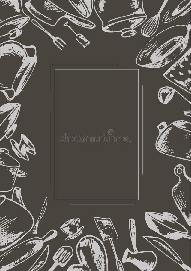 Grå vektormall med en skissa av cookwaren royaltyfri illustrationer
