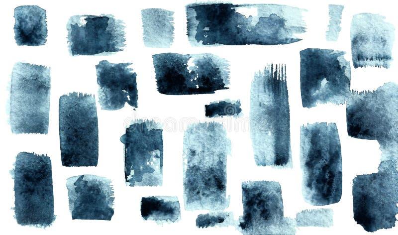 Gråa blåa fläckar med en borste Vertikala och horisontalslaglängder royaltyfri illustrationer